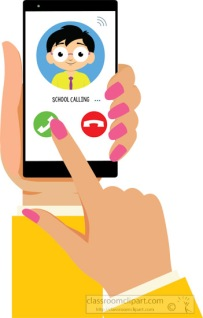 school calling on smartphone in female hand clipart