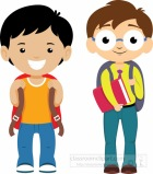 Two Student With Backpacks Ready For School Clipart